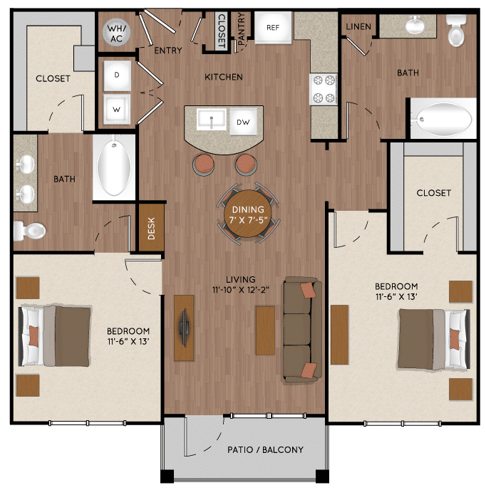 Two bedroom apartment in Tomball TX near The Woodlands