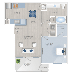 One Bedroom Apartments in Tomball, TX - The Preserve at Spring Creek - A1