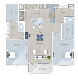 Two Bedroom Apartments in Tomball, TX - The Preserve at Spring Creek - B1