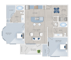 Two Bedroom Apartments in Tomball, TX - The Preserve at Spring Creek - B3